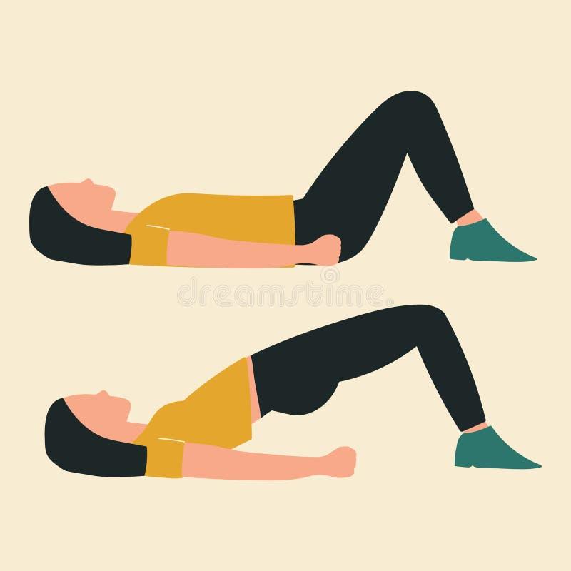 Donna che fa le spinte dell'anca Illustrazioni degli esercizi e degli allenamenti del glute Illustrazione piana di vettore illustrazione vettoriale