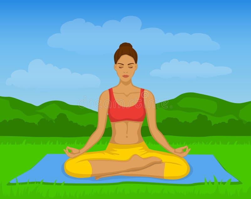 Donna che fa meditazione di yoga in Lotus Pose Outside Vector Illustration royalty illustrazione gratis