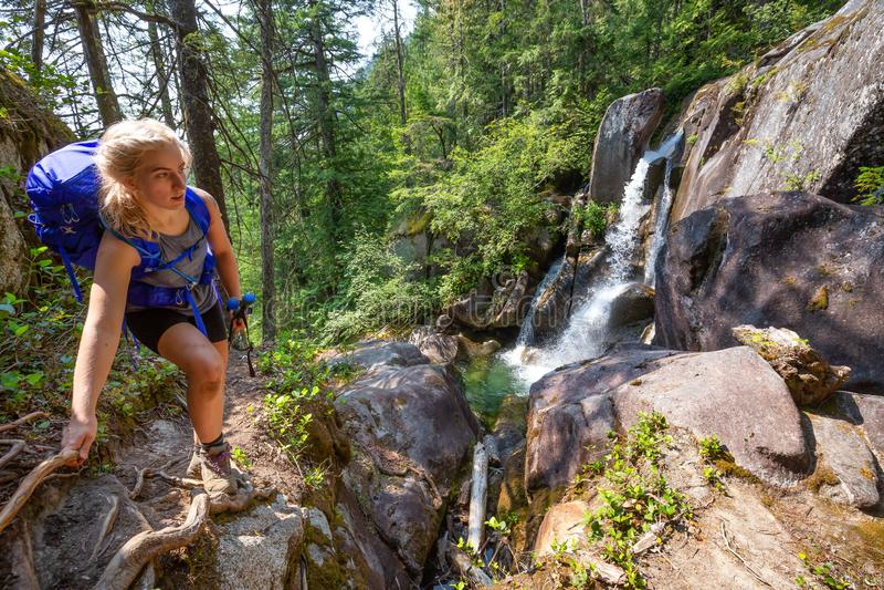 Donna che fa un'escursione vicino ad un canyon fotografia stock