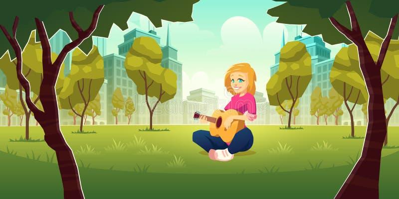 Donna che gioca chitarra nel vettore del parco della città royalty illustrazione gratis