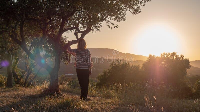Donna che gode del tramonto immagine stock