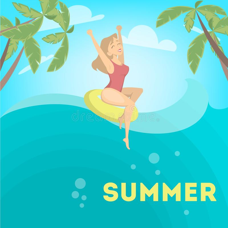 Donna che gode dell'estate illustrazione vettoriale