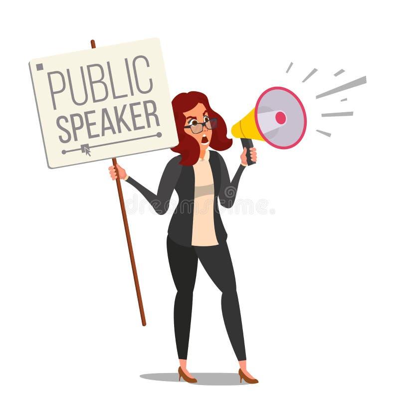 Donna che grida con il vettore del megafono Altoparlante pubblico di protesta femminile pubblica Annuncio rumoroso dell'attivista illustrazione vettoriale
