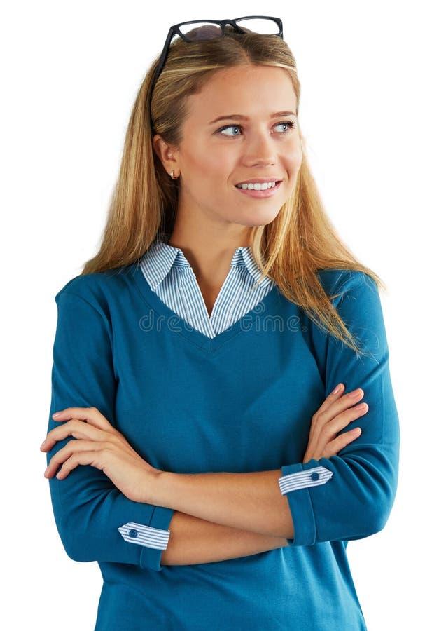 Donna che guarda al lato, isolato su fondo bianco fotografia stock libera da diritti