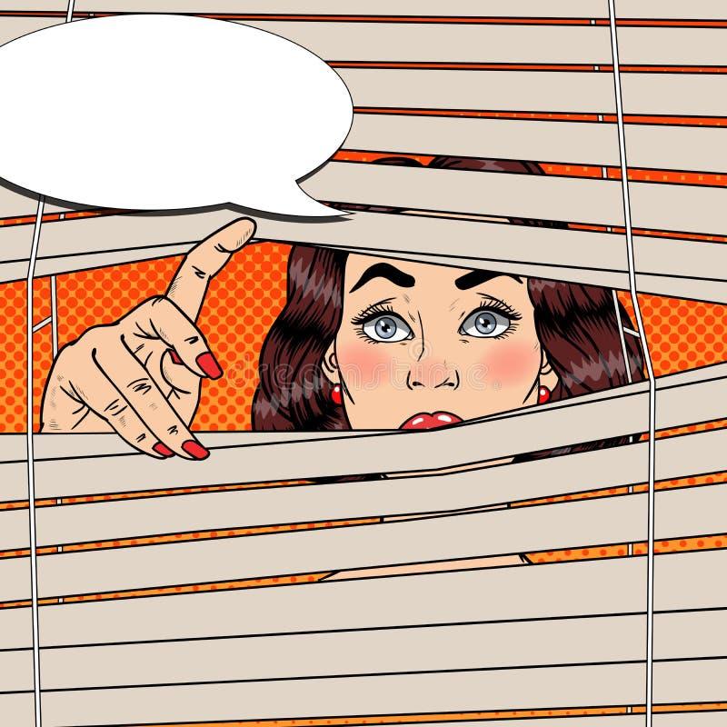 Donna che guarda attraverso i ciechi Retro illustrazione di Pop art illustrazione vettoriale