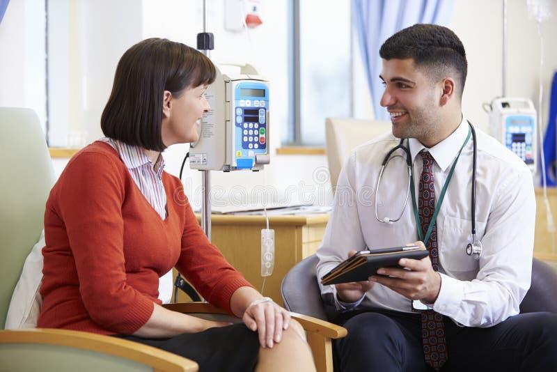 Donna che ha chemioterapia con il dottore Using Digital Tablet fotografia stock libera da diritti