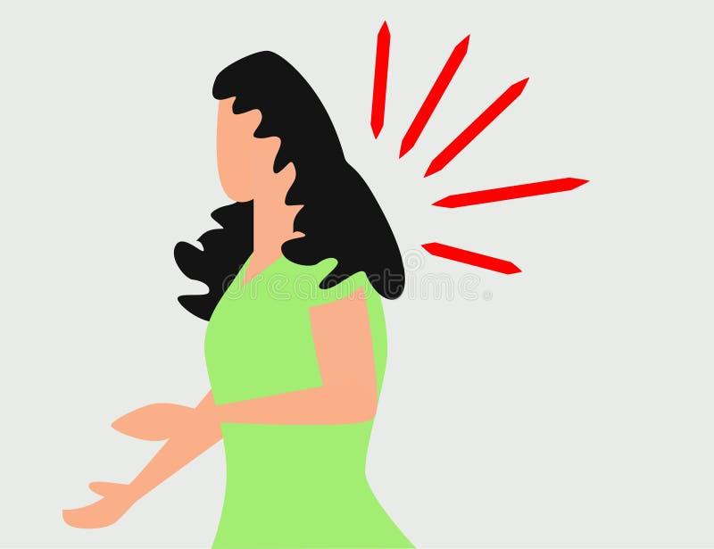 Donna che ha emicrania, emicrania, premente mano alla sua fronte, illustrazione di vettore del fumetto isolata su fondo bianco illustrazione vettoriale