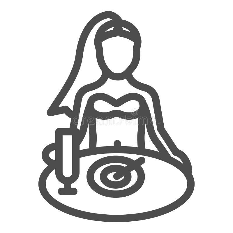 Donna che ha linea icona della prima colazione Ragazza che mangia l'illustrazione di vettore isolata su bianco Femmina allo stile illustrazione vettoriale
