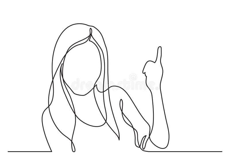 Donna che indica - disegno a tratteggio continuo royalty illustrazione gratis