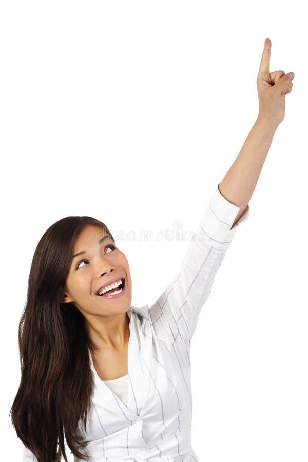 Donna che indica in su fotografie stock libere da diritti