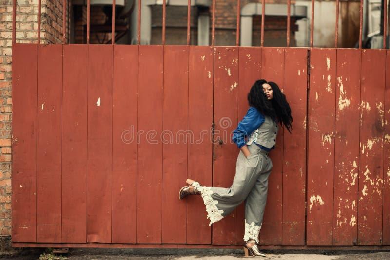 Donna che indossa il portone del metallo di Grey Jumpsuit Standing Beside Brown fotografie stock libere da diritti