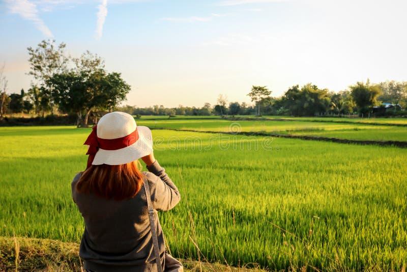 Donna che indossa una condizione bianca del cappello del nastro rosso sul giacimento del riso immagine stock libera da diritti