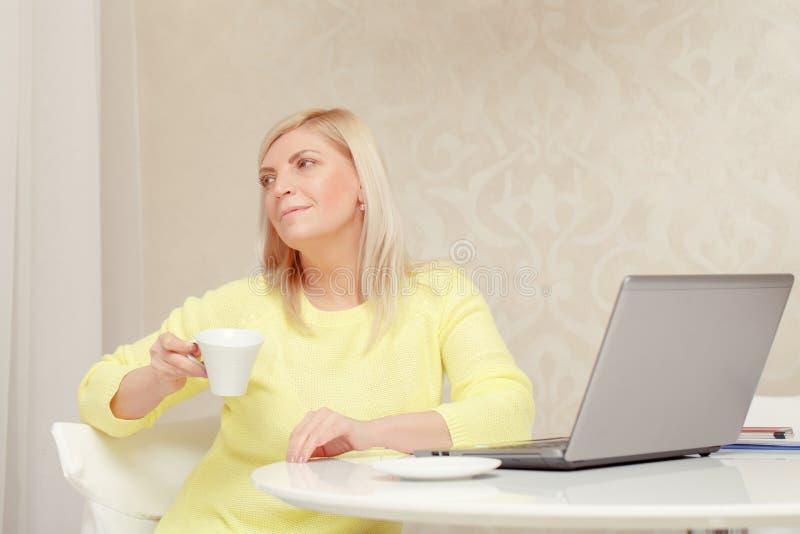 Donna che lavora al computer portatile fotografia stock