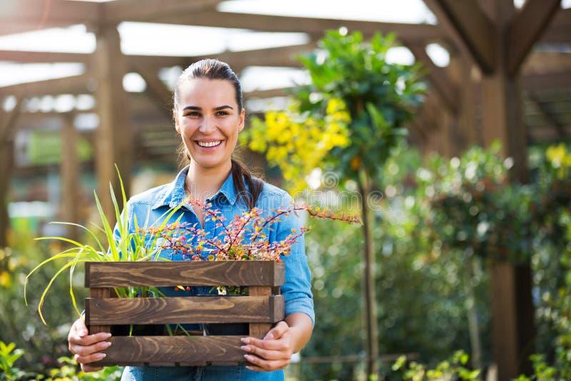 Donna che lavora nel Garden Center immagine stock