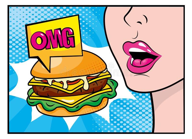 Donna che mangia hamburger con il messaggio di Pop art del omg royalty illustrazione gratis