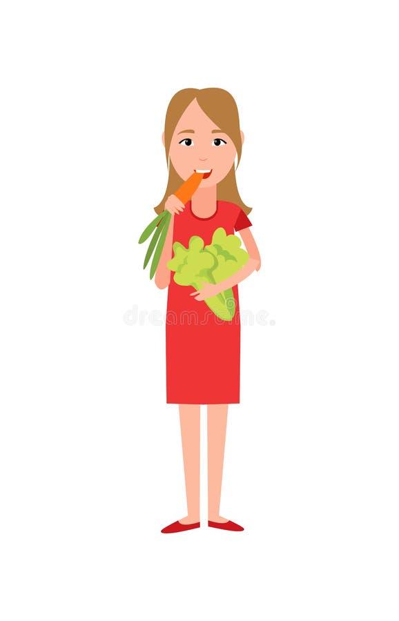 Donna che mangia l'illustrazione di vettore dei broccoli della carota illustrazione di stock