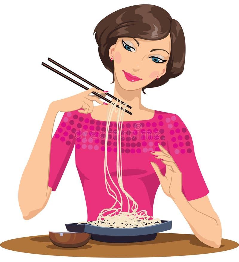 Donna che mangia pasta illustrazione vettoriale
