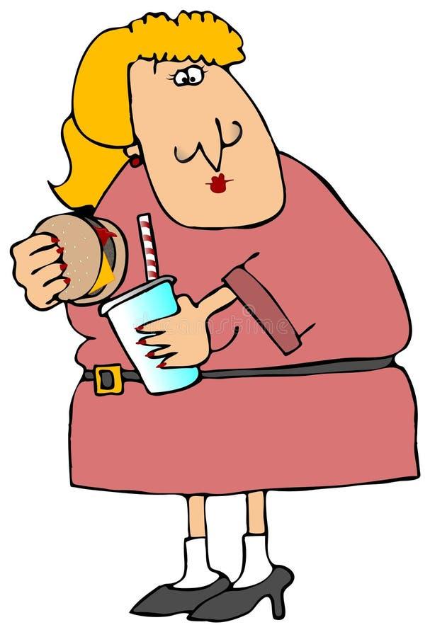 Donna che mangia sull'esecuzione illustrazione di stock