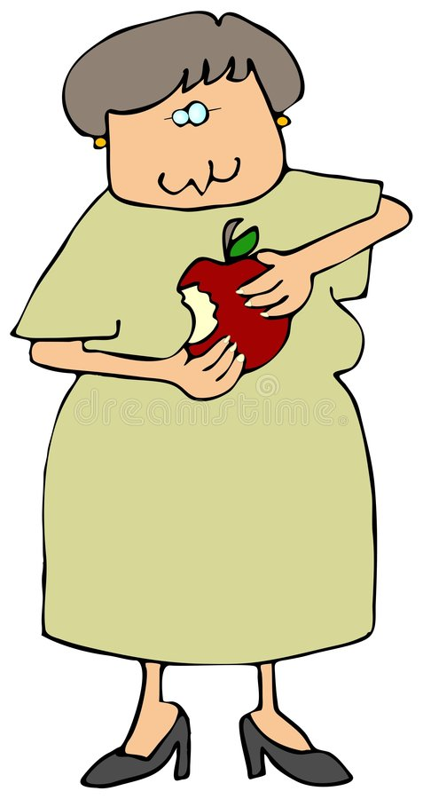 Donna che mangia un Apple royalty illustrazione gratis