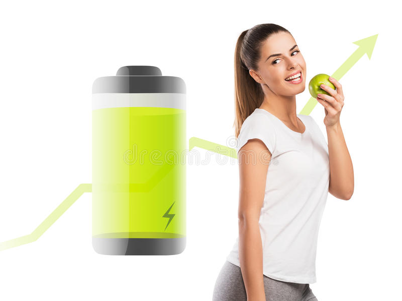 Donna che mangia una mela, energia d'amplificazione dell'alimento sano fotografia stock libera da diritti