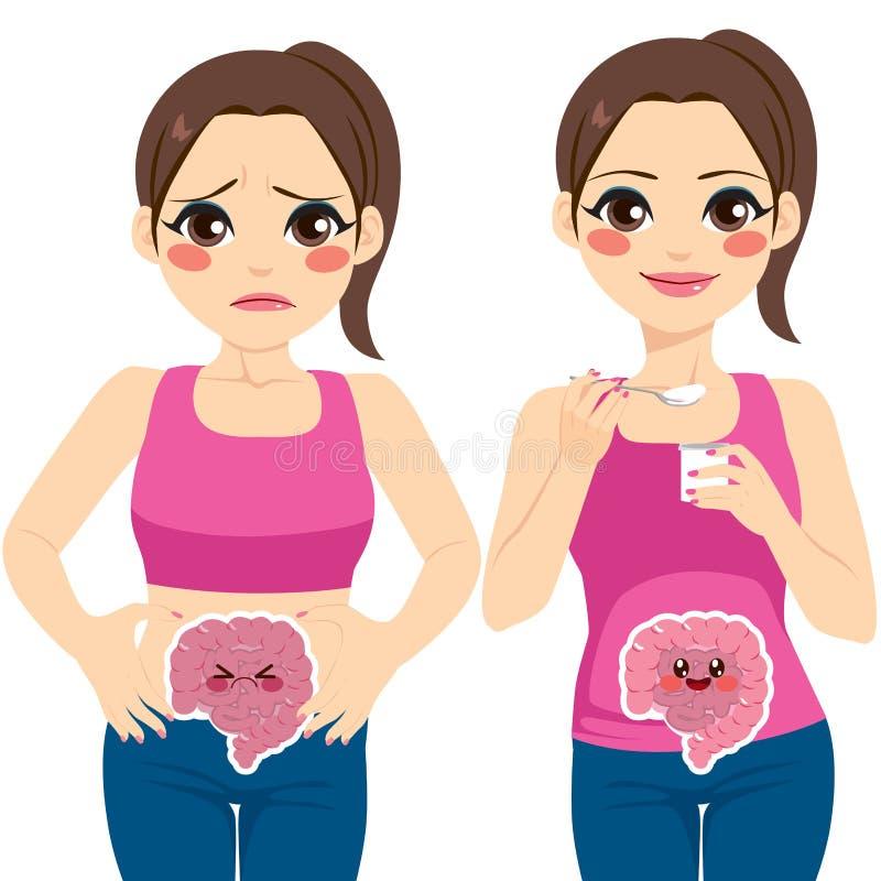Donna che mangia yogurt illustrazione di stock