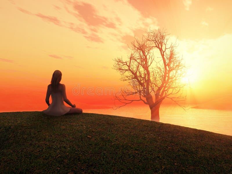 Donna che Meditating all'alba royalty illustrazione gratis