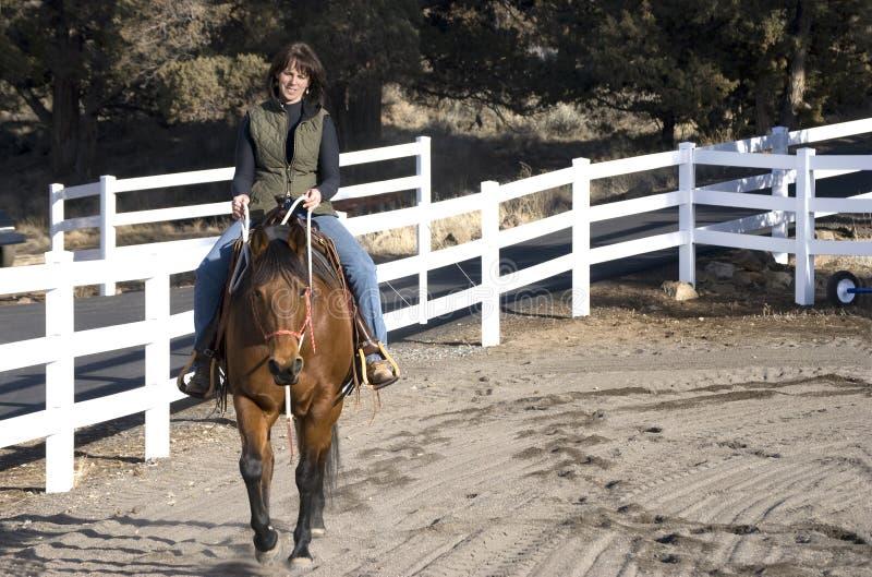Donna che monta un cavallo della baia fotografia stock libera da diritti
