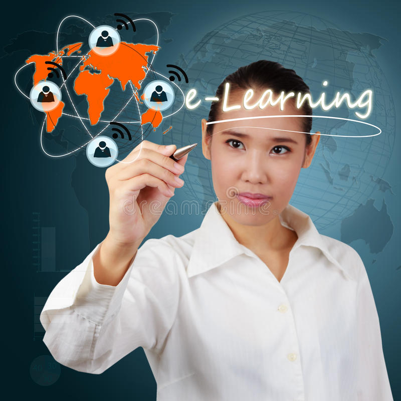 Donna che mostra concetto di e-learning fotografia stock