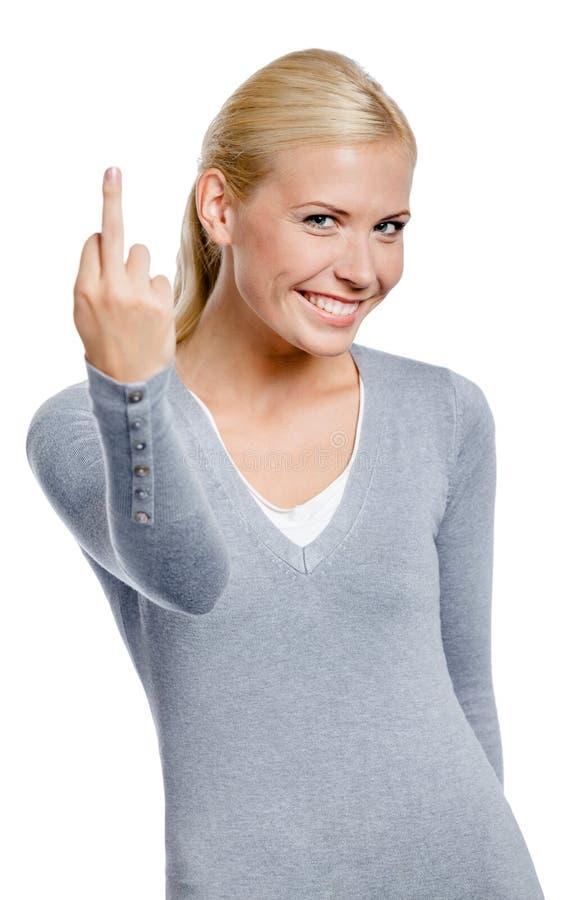 Donna che mostra gesto osceno fotografia stock