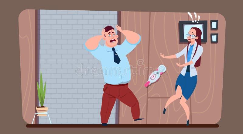 Donna che mostra il test di gravidanza stressante del positivo dell'uomo royalty illustrazione gratis