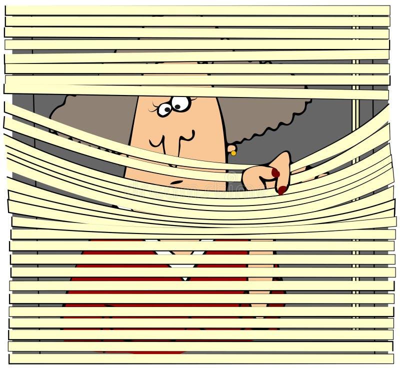 Donna che osserva attraverso i ciechi illustrazione di stock