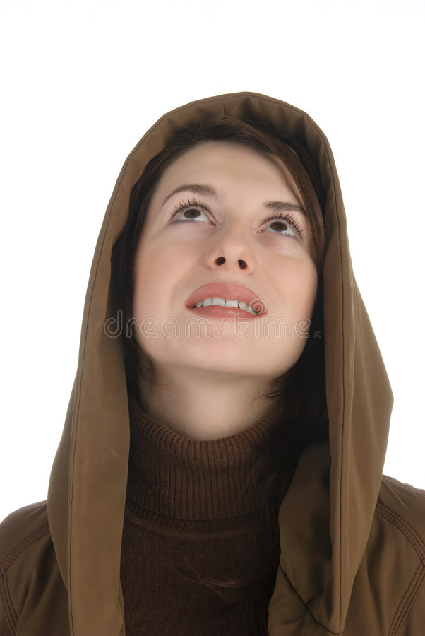 Donna che osserva in su fotografia stock libera da diritti
