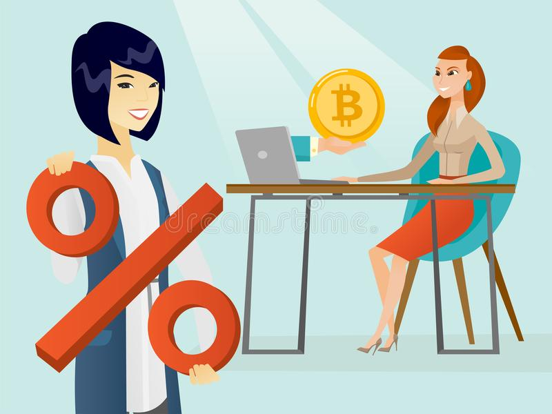 Donna che ottiene la moneta del bitcoin dal commercio del bitcoin royalty illustrazione gratis