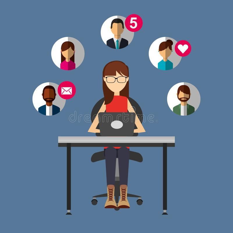 Donna che parla con il computer portatile in media del sociale della gente dello scrittorio illustrazione vettoriale