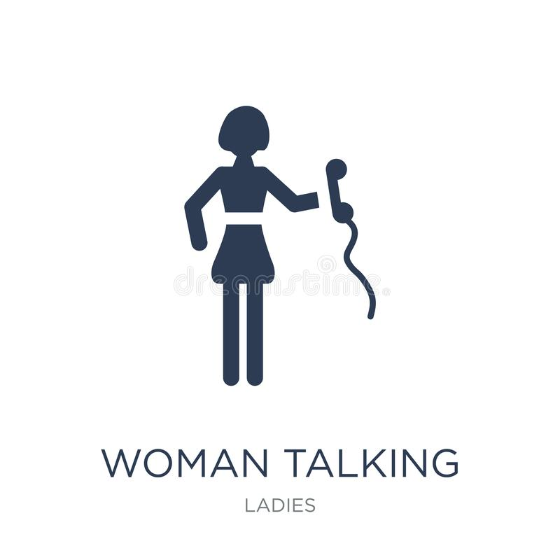 Donna che parla dall'icona del telefono Donna piana d'avanguardia di vettore che parla vicino illustrazione di stock