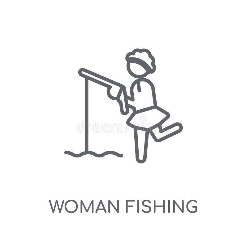 Donna che pesca icona lineare Raggiro moderno di logo di pesca della donna del profilo illustrazione di stock