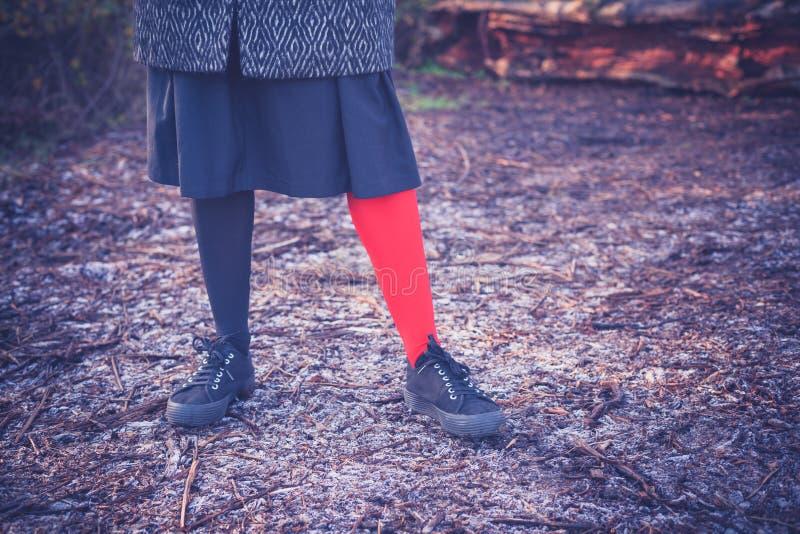 Donna che porta le ghette dispari su terra gelida fotografia stock