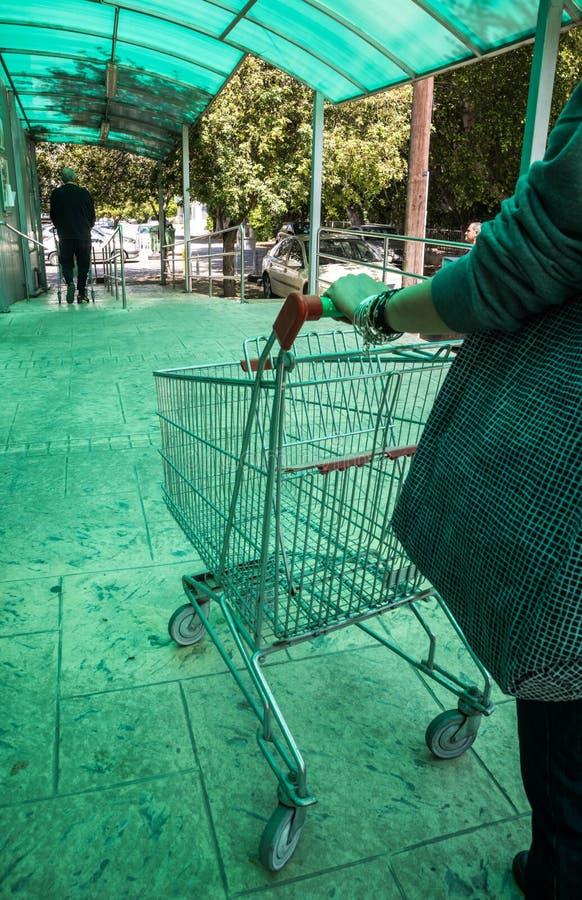 Donna che porta un carrello del supermercato immagini stock libere da diritti