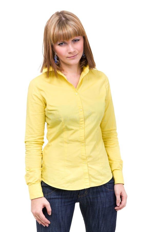 Donna che porta una camicia gialla immagine stock libera da diritti