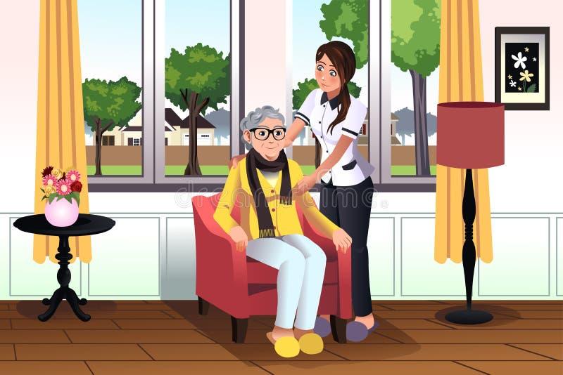 Donna che prende cura di una signora senior illustrazione vettoriale