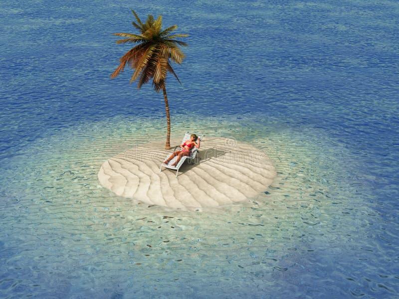 Donna che prende il sole nel salotto sulla piccola isola fotografia stock libera da diritti