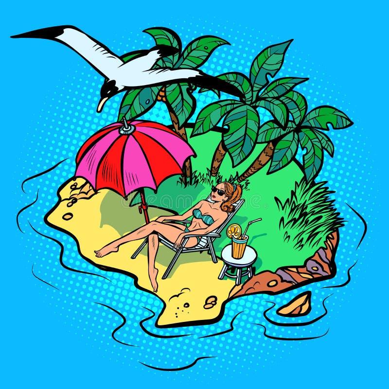 Donna che prende il sole su un'isola tropicale royalty illustrazione gratis