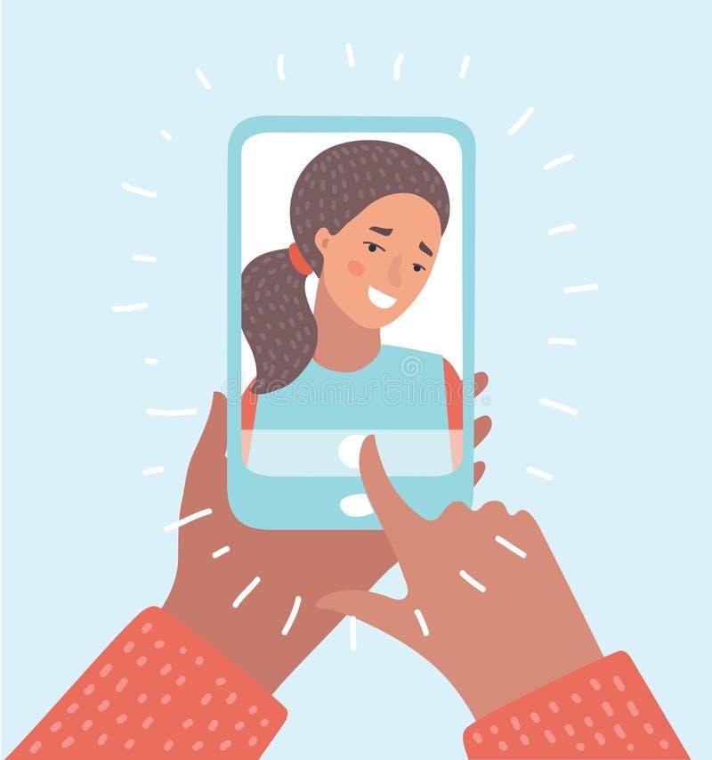 donna che prende la foto del selfie sullo smartphone Smartphone in mani delle ragazze illustrazione di stock