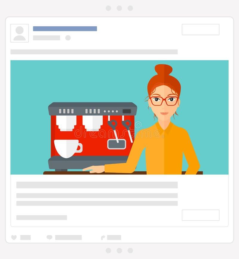 Donna che produce caffè Posta sociale di media illustrazione di stock
