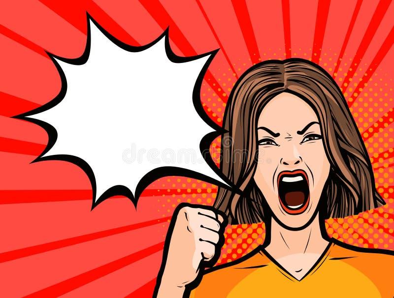 Donna che protesta protesta del pugno, opposizione, concetto di rivoluzione Illustrazione di vettore illustrazione vettoriale