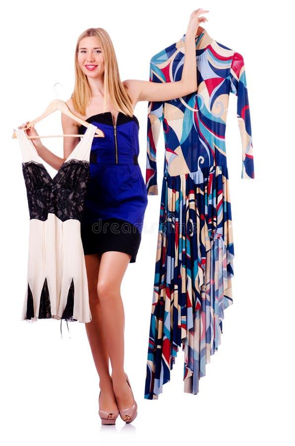 Donna Che Prova Nuovi Vestiti Immagini Stock