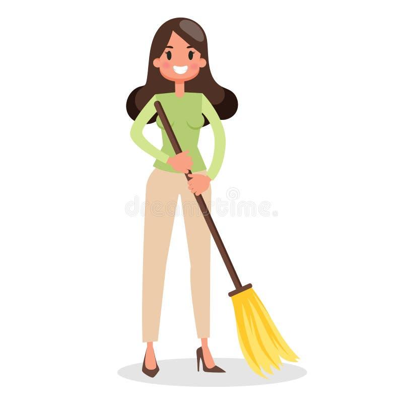 Donna che pulisce il pavimento con una scopa housework illustrazione di stock