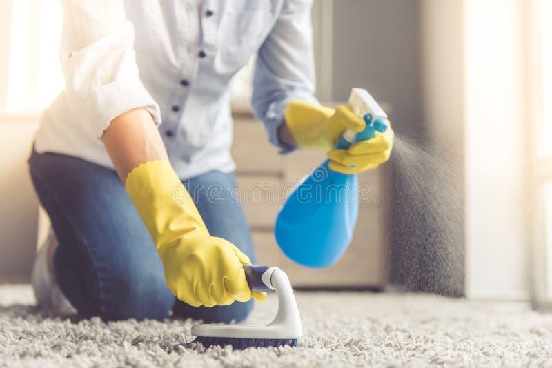Donna che pulisce la sua casa fotografia stock libera da diritti