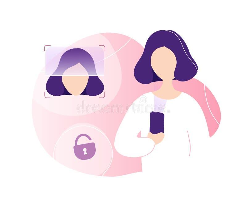 Donna che sblocca telefono facendo uso del riconoscimento di fronte royalty illustrazione gratis
