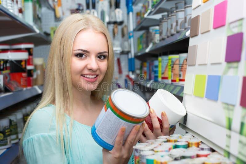 Donna che sceglie decorando pittura fotografia stock libera da diritti